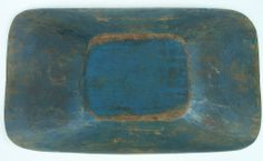 Early 19th c. American TRENCHER in original BLUE PAINT,