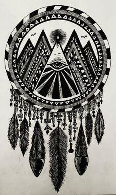 tattoo ideas, third eye, dream catchers, art, a tattoo, illuminati, feather, design, ink