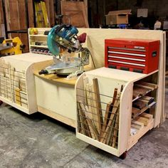 Combo Miter Saw Station Lumber Rack. I luv this idea for a workshop bench. My suggestion is to just make that miter station bolt on to swap out with other big tools like a small scroll-saw, grinder, belt sander, polisher... etc. Each piece would just need a standard mounting plate that you make to attach to that center workstation area.