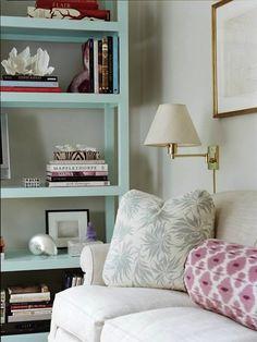 Cute bookshelf and lamp!