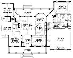 Floor Plans AFLFPW19191 - 1 Story Farmhouse Home with 4 Bedrooms, 3 Bathrooms and 2,195 total Square Feet with bonus room 21x18