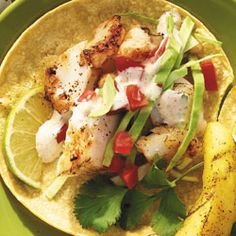 We love a good fish taco! This recipe uses lime juice, ancho chili powder and honey to give it a kick! Only takes 10 minutes to prepare. 180 calories per serving.