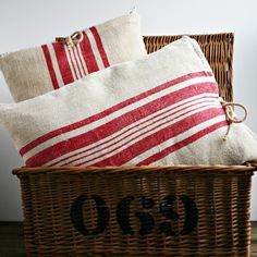 wide red stripe pillows - ZinniaCottage
