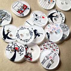 Make your own clothing buttons from shrink plastic. Tutorial and template included.