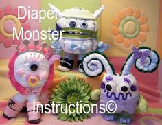 Diaper Monster Diaper Cake Instructions baby shower gift welcome baby gift. How to make. on Etsy, $5.99