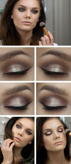 """Linda Hallberg makeup look """"Advent"""" - Shimmery champagne and plum brown eye shadow, soft and smokey, and paired with glossy nude pink lips."""