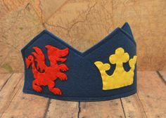 Wool Felt Crown for Boys, Knight, Mike the Knight, blue, dragon, dress up, role play, Prince, King, Kings Crown via Etsy
