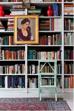 Paintings hung on the outside of bookcase