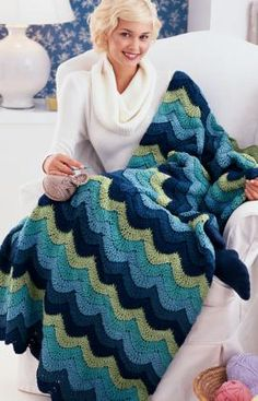 Best Free Crochet » Free Ocean Waves Throw Crochet Pattern from RedHeart.com #376 crochet blankets, crochet afghan, the wave, color, wave throw, ocean waves, blanket patterns, crochet throws, crochet patterns