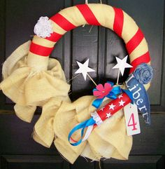 What a great DIY wreath for a July 4th party! #wreath | From Patty of Our Adventures in Big Ole Texas blog