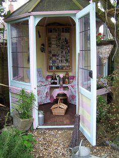vintage teacups, dream places, outdoor tea, storage sheds, relaxing places, tea room, hous, garden tea, garden spaces