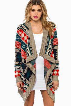 Cardigan Print Sweater #aztec