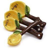 lemons, spoons, gift ideas, measur spoon, lemon earthenwar