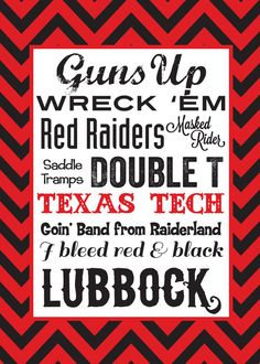 Texas Tech Typography 5x7 Print by QuotableDesign on Etsy, $7.50