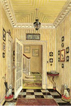 Nancy Lancaster's hall at 18a Charles Street in Mayfair. Watercolor by Alexandre Serebriakoff.