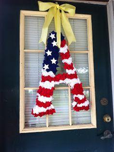 Deployment American Flag Monogram Wreath #DIY #deployment #wreath # military www.operationwearehere.com/craftssewingetc.html