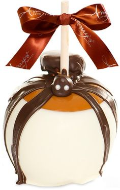 Caramel Apple with a great candy SPIDER and chocolate drizzled legs.