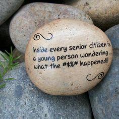 Senior Citizen Humor. Message Stone. Fun Humor by holidayhijinks, $15.00