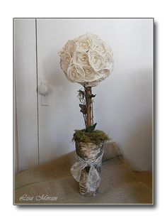Stunning, rustic topiary with cream Sola roses set in a birch bark vase.