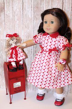 American Girl Valentine Dress, Hearts-a-Fire, plus a little rag doll. $65.00, via Etsy.