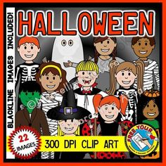 HALLOWEEN KIDS COSTUME CLIP ART - KIDS DRESS UP FOR HALLOWEEN- COLOR + BW from FREEYOURHEART on TeachersNotebook.com -  (22 pages)  - HALLOWEEN KIDS COSTUME CLIP ART - KIDS DRESS UP FOR HALLOWEEN- COLOR + BW