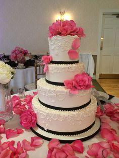white on white, scroll work, pink flowers, white, pink and black, elegant, buttercream