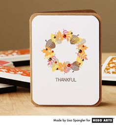 Hero Arts Cardmaking Idea: Thankful. Using small stamps to make a wreath