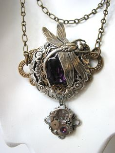 Amethyst Dragonfly Steampunk Necklace
