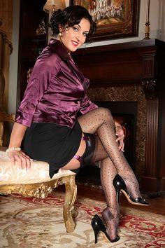 RHT, polka dot & seam design by Secrets In Lace - The Bettie Page Collection: www.secretsinlace.com/product/Bettie-Page-Vintage-Dot-Seam-Vintage-Nylon-Stocking/Bettie_Page_Nylon_Stocking_Collection