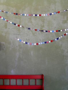 4th of july garland- easy to do and works with Eagle Scout colors