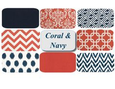 Mix & Match Coral & Navy Throw Pillow Covers! Pick your favorites! Set of Two Coral Navy Pillows by mizzeztee, $36.00