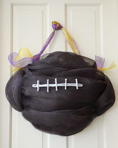 DIY: Football Door Decoration with deco mesh