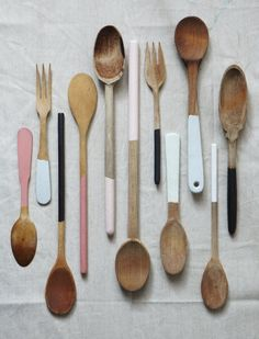 Colorblock painted spoons by Milk Farm Road