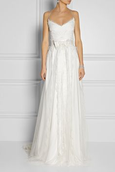 Marchesa Chantilly lace and satin gown NET-A-PORTER.COM
