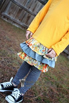 For kids clothes...adding ruffles to shirt.