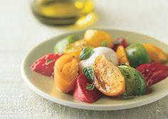 Heirloom Tomato and Burrata Cheese Salad food-drink