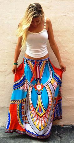 Colorful Tribal Maxim Skirt