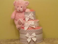 Grey & White Polka Dots with Pink Damask Diaper by CaringCakes, $52.00