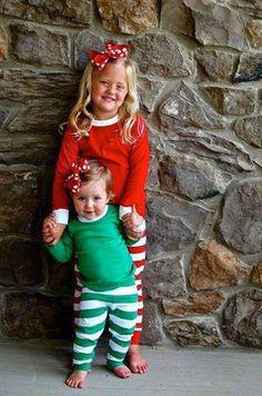 CHILD Monogrammed Christmas Pajamas BOY or GIRL by KensiLane