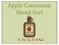 This sort is perfect for first and second graders learning the consonant blends Sl, Sk, Sp, & St. There are 8 apples for each of the 8 blends. 32 apples to sort total! Students are able to sort the apple words into the bowls that contain the blend title. After sorting, there is a follow up writing activity where the students write the words on a graph under the particular blend title. This activity is perfect for centers!