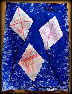 K: Sponge painted kites