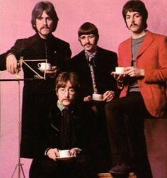 Beatles drinking tea