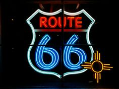 ~ A Neon Route 66 Sign w/ the New Mexico Zia Symbol ~
