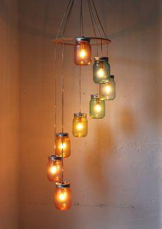 Rainbow Bright Mason Jar Chandelier - Mason Jar Lighting - Spiral Swag Lamp - Handcrafted Upcycled BootsNGus Hanging Pendant Light Fixture. $220.00, via Etsy.