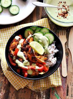 brown rice, avocado dressing, chicken fajitas, chicken bowls, avocado yogurt, bell peppers, sauc, nake chicken, fajita bowl