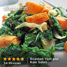 Roasted Yam and Kale Salad from Allrecipes.com #myplate #vegetables
