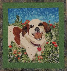 """""""Boston"""", 16 x 17"""", by Georgia Andrews. Fused and quilted dog portrait art quilt. Created as a Christmas gift for a neighbor, to whom this little fellow belongs (clipped Cavalier King Charles Spaniel dog)."""