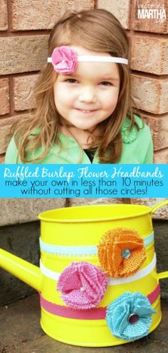 Ruffled Burlap Flower Headbands - made in under 10 minutes with no annoying circles to hand cut!