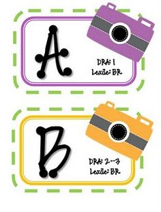 Book bin labels that show Reading A-Z, DRA, and Lexile #'s