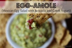 Egg-amole (Mexican Egg Salad with Avocado and Greek Yogurt) from Two Healthy Kitchens - So yummy! Packed with nutrition, this creamy egg salad is fantastic as a dip, or on a sandwich! You'll never even miss the mayo! Super easy - just 6 simple ingredients!